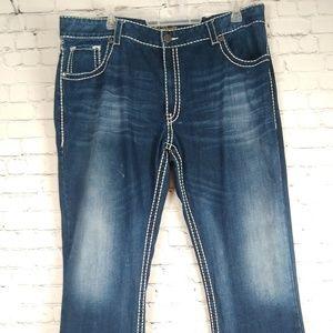 Rock 47 Denim Men's Bootcut Thick Stitch Jeans W42